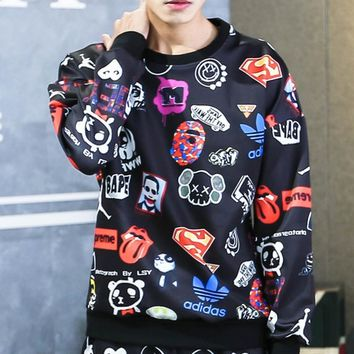 Space Cotton 3D Sweater Long Sleeve Men 's Round Collar Hooded Tide Student Sweater