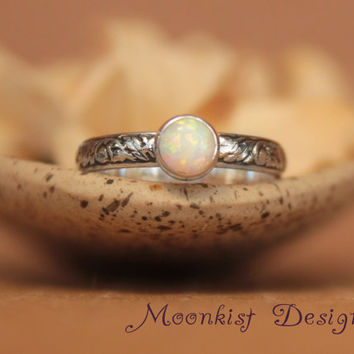 Opal Bezel-Set Solitaire with Floral Sterling Silver Tendril and Vine Band, Floral Promise Ring, Floral Engagement Ring, Choice of Stone