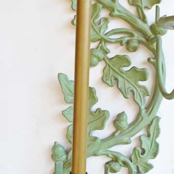Cast Iron Hanging Wall Décor, Ornate Vintage Wall Hanging with Candleholders, Green Nature Outdoor Wall Décor, Wall Hanging Candle Holder
