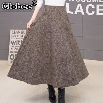 winter skirt faldas largas jupe longue high waist vestidos long warm skirts plus size black dames kleding wool maxi skirt J116