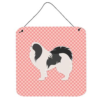 Japanese Chin Checkerboard Pink Wall or Door Hanging Prints BB3637DS66