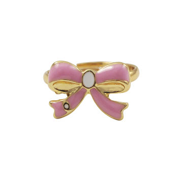 Light Pink Enamel With White Enamel Center, Gold Plated Brass Bow Adjustable Ring