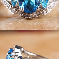 HOT SALE FASHION WOMEN ELEGANT JEWELRY NEW OVAL CUT BLUE & WHITE TOPAZ SILVER RING SIZE 7 R1-0645 = 1958116548
