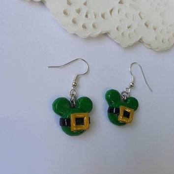 St. Patrick's Day Inspired Mickey Mouse Head Earrings - Polymer clay Charm,Disney Earrings, Stud Earrings, Polymer Clay Earrings