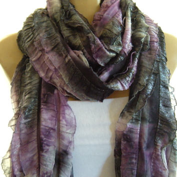 Purple Horizon purple charcoal gray and black  Tie-dye Shimmery long ruffle scarf Tube scarf Super long  -Flamenco superstar