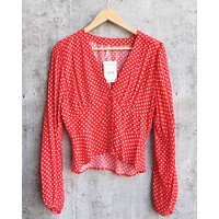 Free People - Love Street Polka Dot Gathered Balloon Sleeve Top in Red