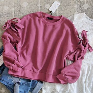 Belle Tie Sweatshirt in Pink