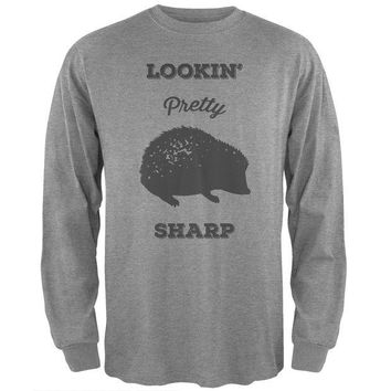 LMFCY8 PAWS - Hedgehog Lookin' Pretty Sharp Navy Long Sleeve T-Shirt