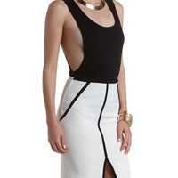Black Dropped Armhole Sleeveless Bodysuit by Charlotte Russe