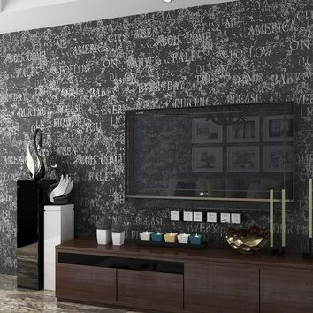 Super Thick Modern Minimalist Wall Paper Roll English Alphabet Vintage Silver Black Study Tv Background Wallpaper For Walls 3 d