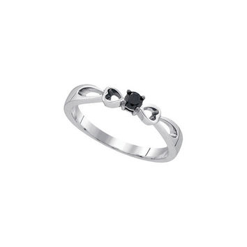 Sterling Silver Womens Round Black Colored Diamond Solitaire Promise Bridal Ring 1/10 Cttw