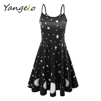 Women Harness Dress Summer 2018 Sexy Backless Shinny Moon Star Black Dress Moon Phase Spell Vestidos