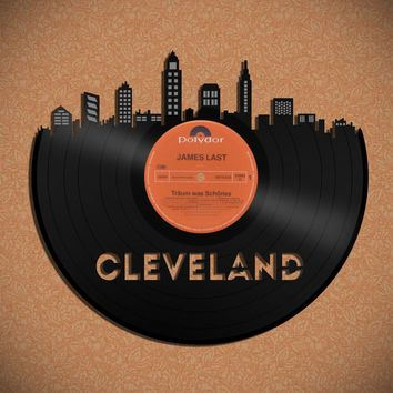 Unique Skyline of Cleveland, Music Art for Him, Hanging Art Skyline, Art New Boyfriend, Hip Art Gift, Custom Dorm Art, Music Lover Husband