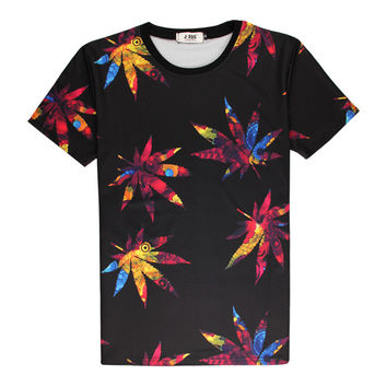 Fashion Weed Leaf Colored 3D Print T-shirt maple leaves Cotton Unisex Costume Tee Shirts Casual Homme Summer Tops