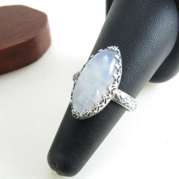 Rainbow Moonstone Statement Ring Sterling Silver Moonstone Jewelry Handmade Metal Jewelry Size 8.5