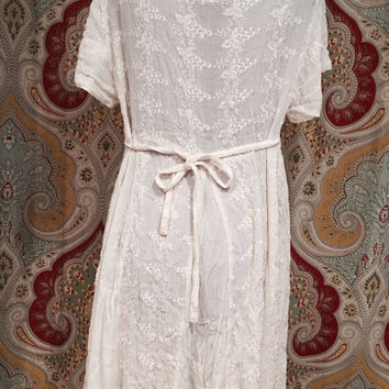 Vintage 90s American Angel Off White Lace Wmpire Waist Beach Cover Up Bohemian Kinderwhore Babydoll Corset Tie Top Short Sleeve Dress