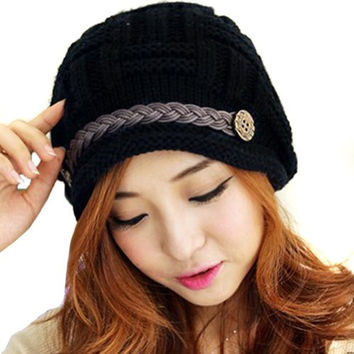 LOCOMO Women Cabled Checker Pattern Knit Beanie Hat Cap Button Strap FFH080BLK