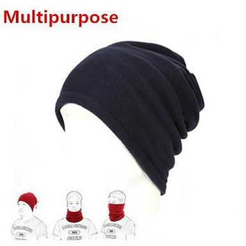 1PC 3 in1 Winter Unisex Women Men Sports Thermal Fleece Scarf Neck Warmer Face Mask Beanie Hats NQ874630