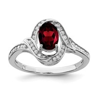 Sterling Silver Diamond And Oval Garnet Halo Twist Ring
