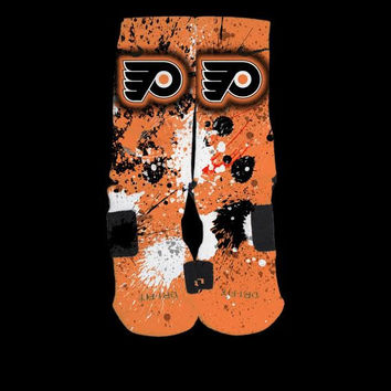Philadelphia Flyers Inspired Inspired Custom Nike Elite Socks