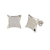Sterling Silver Screw Back Earrings White Pave Cubic Zirconia CZ 15mm Kite Shape