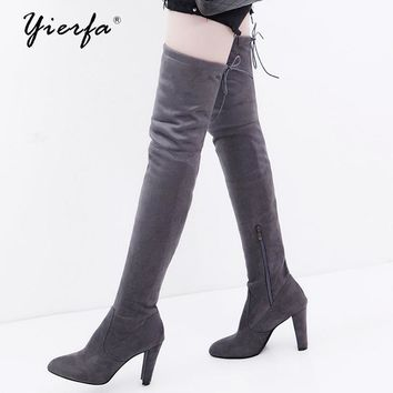 Women boots Foreign trade large size autumn and winter zipper boots with the knee was thin and high with thick boots