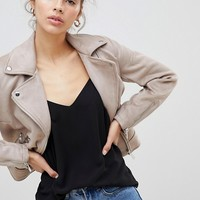 New Look Suedette Biker Jacket at asos.com