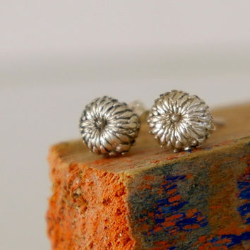 Tiny Acorn Sterling Silver Stud Earrings Woodland by Nafsika