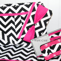 THE ULTIMATE SET Chevron Diaper bag with Bright Pink Accents
