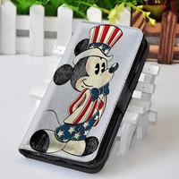 Mickey Mouse   Disney   Custom wallet case for iphone 4,4s,5,5s,5c,6 and samsung galaxy s3,s4,s5