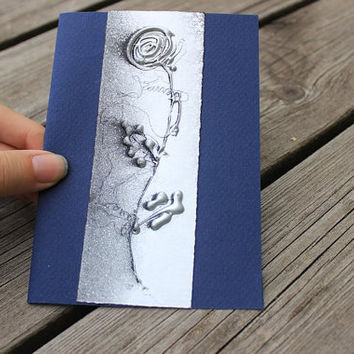 Greeting card A6 4x6 - Silver rose on navy blue background