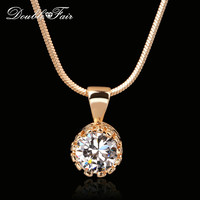 Double Fair Brand Unique Crown Cubic Zirconia Necklaces &Pendants Silver/Rose Gold Color Chain Fashion Jewelry For Women DFN390