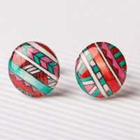 Tribal Print Post Earrings in Red, Aqua, Pink