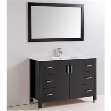"Legion Furniture WA3548E 48"" Solid Wood Sink Vanity With Mirror And Faucet In Espresso"