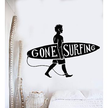 Vinyl Wall Decal Surfing Guy Surf Beach Surfer Quote Stickers Murals Unique Gift (ig4829)