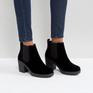 Boohoo Zip Side Chunky Heel Ankle Boot at asos.com