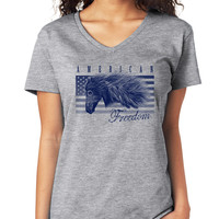 American Freedom with Horse V-Neck Tee