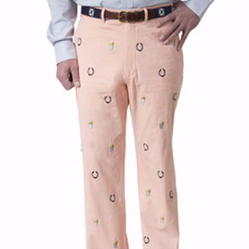 Harbor Embroidered Pant Melon with Lucky Mint Julep