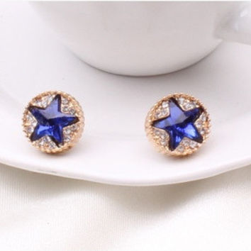 Best Quality Earrings Star Pentagram Brincos Stud Earrings Crystals blue gem earring womens jewelry (Color: Blue) = 1669053700