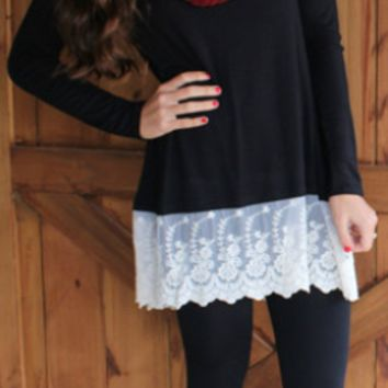 Black Lace Pathwork Long Sleeve Shirt