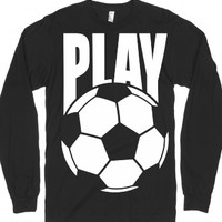 Play Soccer-Unisex Black T-Shirt