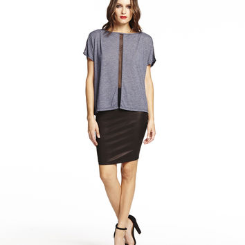 Michael Stars Short Sleeve Boatneck with Mesh Contrast