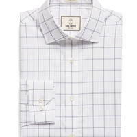 Spread Collar Dress Shirt in Blue Windowpane