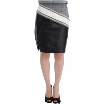 SACHIN & BABI Gray Black Liza Leather Straight Pencil