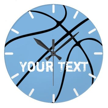 Custom Carolina Blue Basketball Gear Large Clock