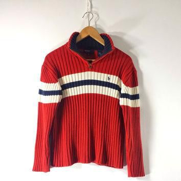 Vintage Men's RALPH LAUREN Polo Sweater - Mock Neck - Made in JAPAN - Size S / M