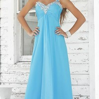 A-Line One-Shoulder Floor-Length Chiffon and Sequins Prom Dress SAL0915