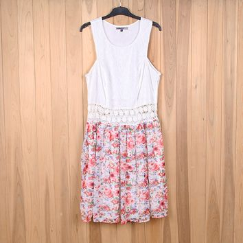 Sleeveless Lace Patchwork Floral Print Chiffon Mini Dress
