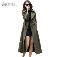2017 Autumn Women Maxi Long Trech European Style Long Sleeve Slim Casual Trench Coat Pure Collar Double Breasted Outerwear OK074