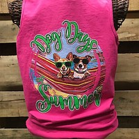 Southern Chics Dog Days of Summer Comfort Colors Bright Tank Top Shirt